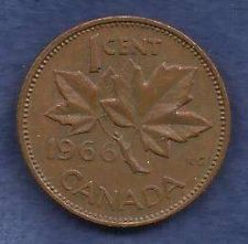 Buy Canada 1 Cent 1966 RED Canadian Canada Maple Leaf Elizabeth II Penny