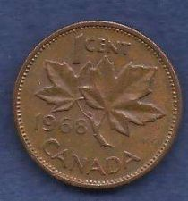 Buy Canada 1 Cent 1968 RED Canadian Canada Maple Leaf Elizabeth II Penny
