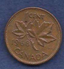 Buy Canada 1 Cent 1968 RED Canadian Canada Maple Leaf Elizabeth II Penny