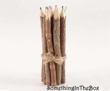 "Buy 7"" Rustic Twig Colored Pencils Set of 12 pcs Tree Branch Wood Color Pencil"