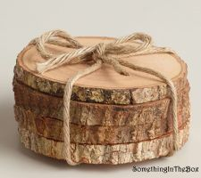 Buy Rustic Tree Bark Coaster Set of 4 pcs Wood Blank Wood Slice Coaster Wedding Deco