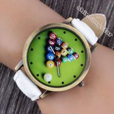 Buy Fashion Snooker Leather White Band Quartz Watch #524 Free shipping