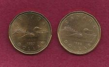 Buy Pair of Canadian One (1) Dollar 1987 & 1988 Loon Dollars -SPECIAL ON TWO COINS!