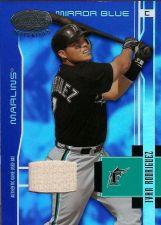Buy 2003 Ivan Rodriguez Leaf Certified Materials Mirror Blue #66 GU Bat (020/100)