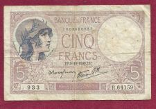 Buy FRANCE 5 Francs 1939 Note R.64159 (P83) - HISTORICAL WWII Era Currency !!!
