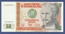 Buy 1987 Central Bank of Peru 50 Intis Banknote A4840151 L