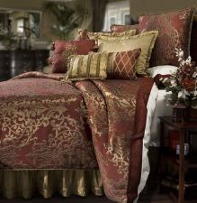 Buy Comforter Set QUEEN Red Gold Luxury Scroll Burgundy Jacquard Medallion Oversized