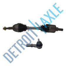 Buy 2 pc Kit Front Passenger Side CV Joint Drive Axle Shaft w/o ABS + Outer Tie Rod
