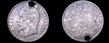 Buy 1857-A French 50 Centimes World Silver Coin - France - Holed