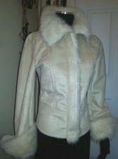 Buy TAHARY Elegant Casual Faux Fur Beige Winter Jacket 100% Polyester Women's XS