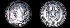 Buy 1935-A German 5 Reichsmark World Silver Coin - Germany 3rd Reich