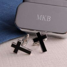 Buy Black Cross Cufflinks with Personalized Case