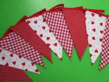 Buy Red Heart Gingham Spot Fabric Bunting Double Sided Banner 9 Flags 8 feet 240 cm
