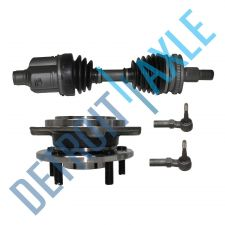 Buy Front Driver CV Axle Shaft w/ ABS + 2 Tie Rods + Wheel Hub and Bearing Assembly