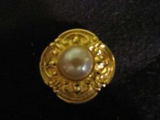 Buy Sarah Coventry Jewelry.....Gold Tone and Pearl Button Scarf Slide #1230
