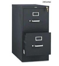 """Buy Black filing Cabinet, Vertical 2-Drawer Storage, Full-Suspension, Letter, 25"""""""
