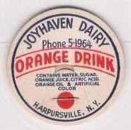 Buy New York Harpursville Milk Bottle Cap Name/Subject: Joyhaven Dairy Orange ~134