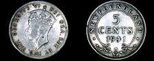Buy 1941-C Newfoundland 5 Cent World Silver Coin - Canada