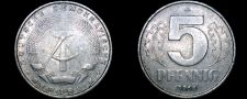 Buy 1968 A German Democratic Republic 5 Pfennig World Coin - East Germany