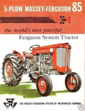 Buy MASSEY FERGUSON MF85 OPERATIONS MANUAL 100pgs for MF 85 Tractor Service & Repair