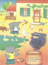 Buy Babar The Elephant Farm Chickens Turkey Duck Geese Kids Art 1993 French print