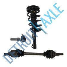 Buy Front Passenger CV Axle Shaft + Ready Strut Assembly + Tie Rod