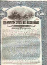 Buy New York New York City Stock Certificate Company: New York Central and Hud~116
