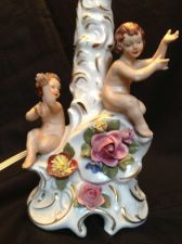 Buy antique porcelaine DRESDEN lamp with PUTTI < 1945