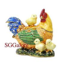 Buy RUCINNI Swarovski Crystals BeJeweled HEN & CHICKS Birds Trinket Jewelry BOX
