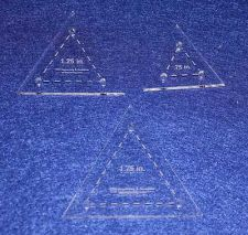 """Buy Quilt Templates- 3 Piece Set Half Sizes- Equilateral Triangles Acrylic 1/8"""""""