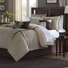 Buy QUEEN Brown Beige 7-Piece Comforter Set Tan Taupe Cocoa Modern Faux Suede NEW