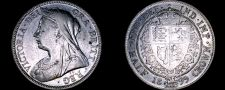 Buy 1899 Great Britain 1/2 Crown World Silver Coin - UK - England - Victoria