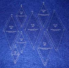 "Buy Quilt Templates-No Tip 45° Diamond 8 Pc Set- 2"" - 5 1/2"" -Acrylic 1/8"""