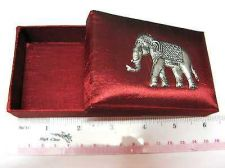 Buy DARK RED COLOR THAI SILK WITH ELEPHANT SILVER COLOR NAMECARD BOX