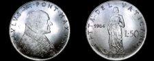 Buy 1964 Vatican City 50 Lire World Coin - Catholic Church Italy