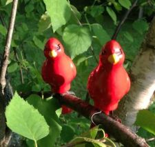 Buy Red Bird Pair With Branch Clamp - Garden Decor, Outdoor Areas NEW