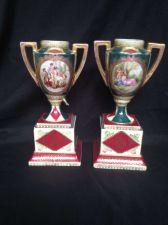 Buy Antique porcelain 19th C. Pair of German Royal Vienna Porcelain Vases - URN