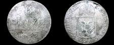 Buy 1849-A Austrian 6 Kreuzer World Silver Coin - Austria