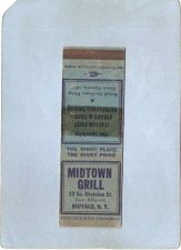 Buy New York Buffalo Matchcover Midtown Grill 52 So Division St Cor Ellicott n~2473