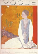 Buy Vogue 1925 Cover Print Lady Reading Book by Lepape Art Deco 1984 original print