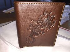 Buy Lot Of 2 -Quality Mens Leather Wallet Dragon Design / Fast Free Shipping