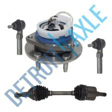 Buy 4 pc Set: Front Right CV Axle + 2 Outer Tie Rod + Wheel Hub Bearing w/ABS; FWD