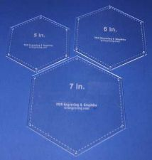 "Buy 3 Piece Set Quilt Hexagons 1/8"" Templates 5"", 6"", 7"" w/ guide holes"