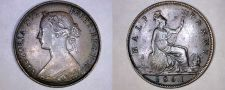 Buy 1861 Great Britain Half (1/2) Penny World Coin - UK - England - 4 Berries
