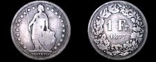 Buy 1877-B Swiss Franc World Silver Coin - Switzerland