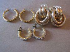 Buy 3 Pair of Gold tone Hoop style Pierced Earrings # 95