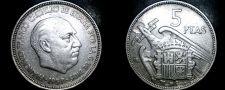 Buy 1957 (62) Spanish 5 Peseta World Coin - Spain Caudillo