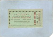 Buy New York Coney Island Amusement Park Ephemera Coupon Balzano's Penny Game ~482