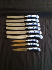 Buy Antique 19 c Set of MEISSEN Blue Onion Handle 9 Knifes Steel Blades marked
