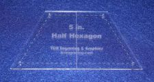 "Buy Quilt Templates-Half Hexagon 1/8 Acrylic 5"" with Center Guideline & Guide Holes"